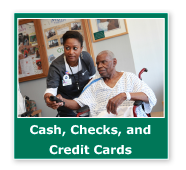 Photo button of a nurse helping a patient. Link to Gifts of Cash, Checks, and Credit Cards.