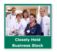 Photo button of a medical team. Link to Closely Held Business Stock.