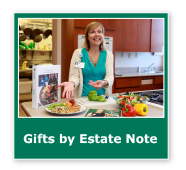 Photo button of a woman teaching a nutrition class. Link to Gifts by Estate Note.