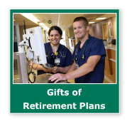 Photo button of two nurses entering information into a machine. Link to Gifts of Retirement Plans.