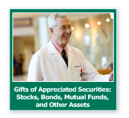 Photo button of a doctor smiling. Link to Gifts of Appreciated Securities.